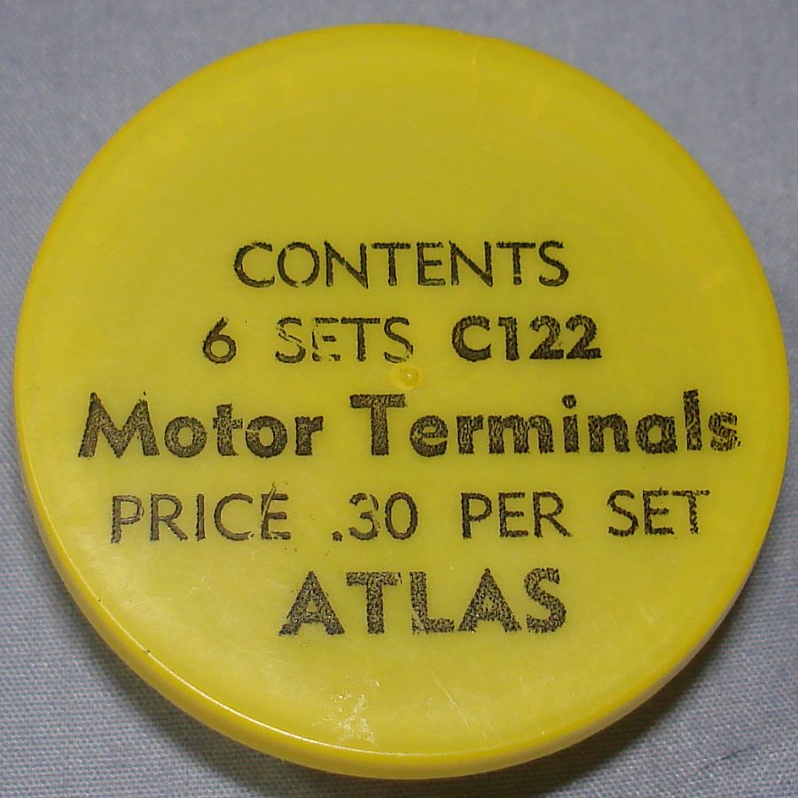 Atlas HO Slot Car Racing Chassis Service Parts C122 Motor Terminals Vial & Lid