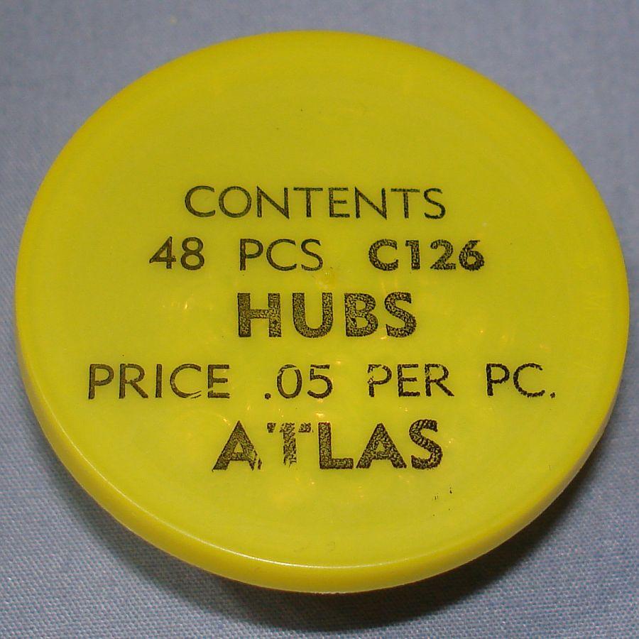 Atlas HO Slot Car Racing Chassis Service Parts C126 Hubs Vial & Lid