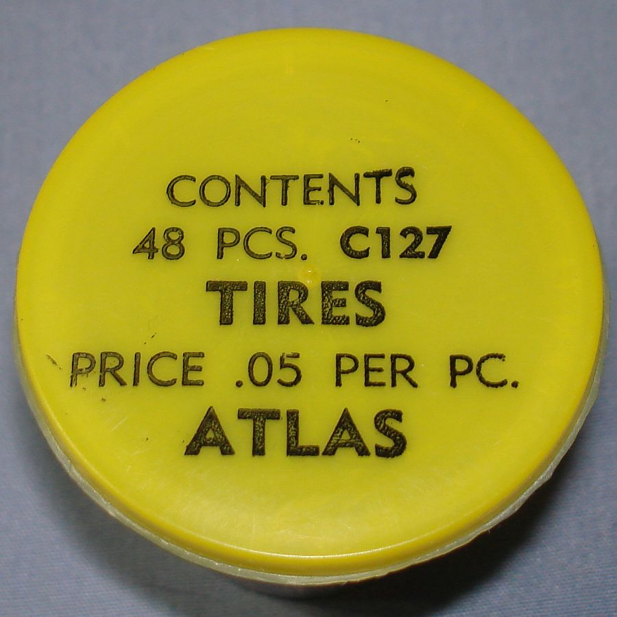 Atlas HO Slot Car Racing Chassis Service Parts C127 Tires Vial & Lid