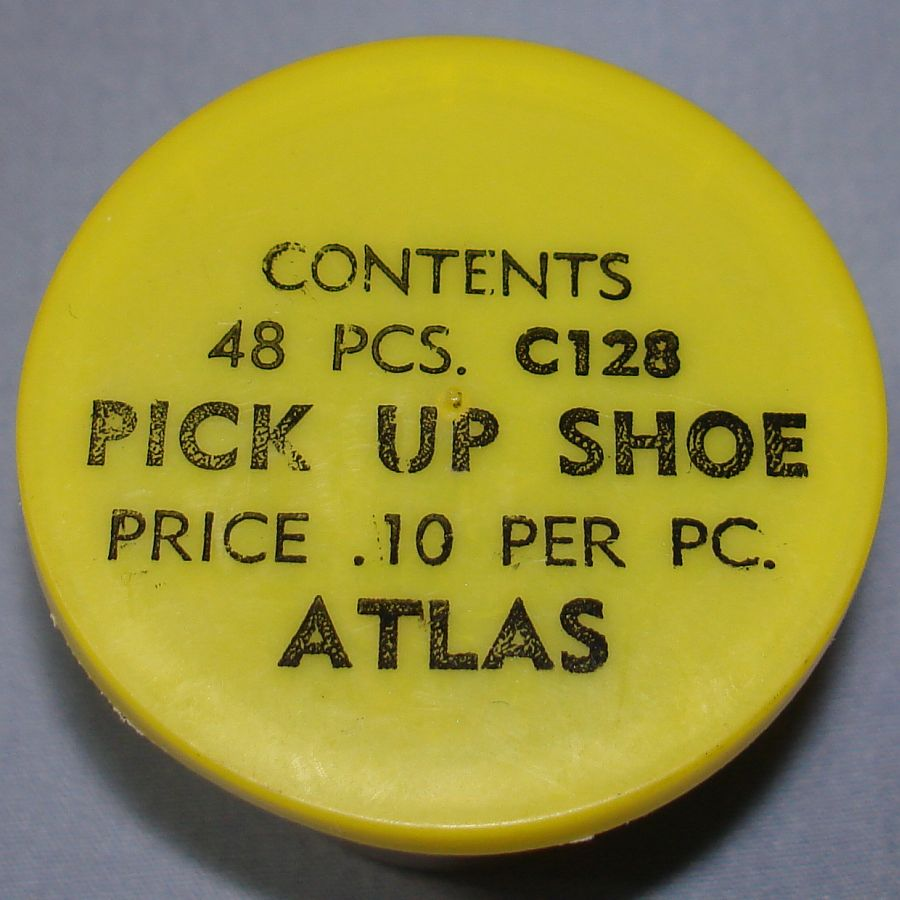 Atlas HO Slot Car Racing Chassis Service Parts C128 Pick Up Shoe Vial & Lid