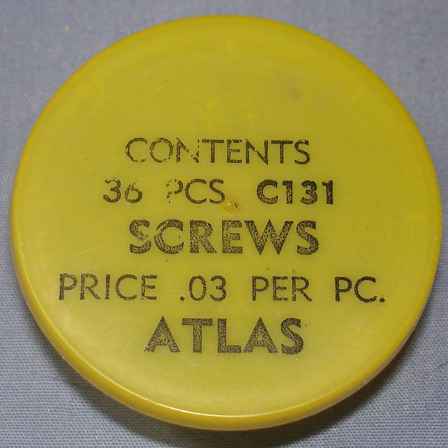 Atlas HO Slot Car Racing Chassis Service Parts C131 Screws Vial & Lid