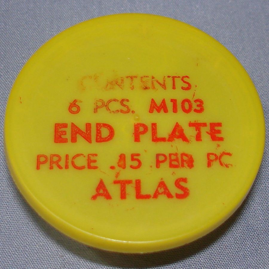 Atlas HO Slot Car Racing Chassis Service Parts M103 End Plate Vial & Lid