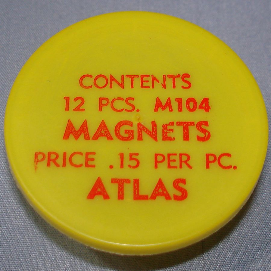 Atlas HO Slot Car Racing Chassis Service Parts M104 Magnets Vial & Lid