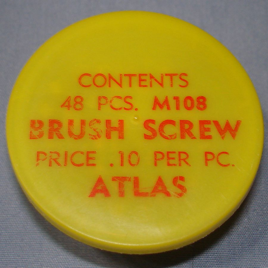 Atlas HO Slot Car Racing Chassis Service Parts M108 Brush Screw Vial & Lid