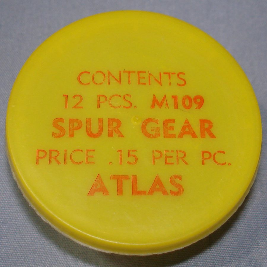 Atlas HO Slot Car Racing Chassis Service Parts M109 Spur Gear Vial & Lid